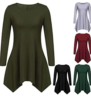 OURS Women Casual Long Sleeve Solid Asymmetrical irregular hem A-Line tunic Dress (XXXL, Army Green)