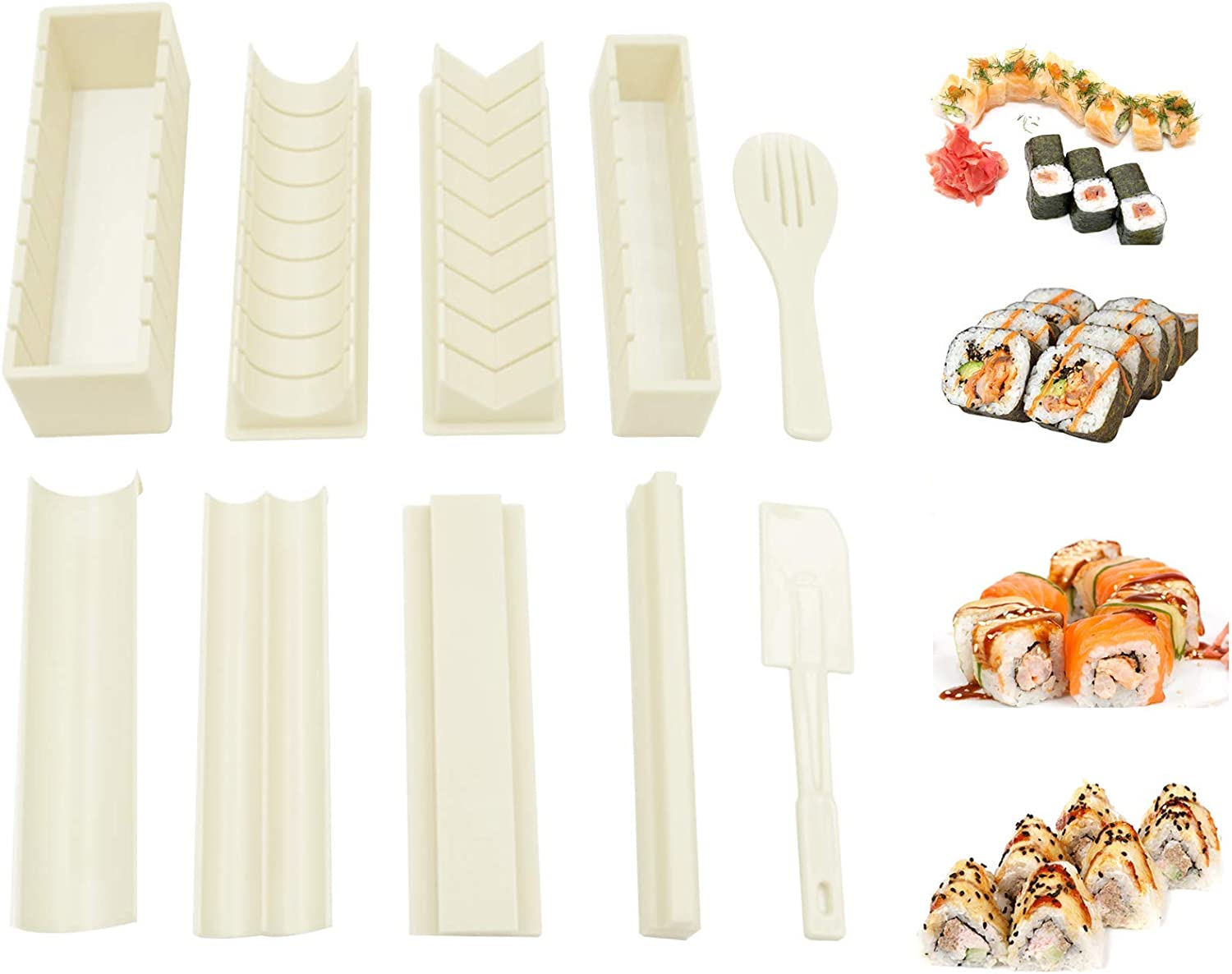 WITBASS 10 Pieces DIY Home Sushi Making tool Kit with Complete Sushi Set, Plastic Sushi Maker Tool Complete with 8 Sushi Rice Roll Mold Shapes Fork Spatula
