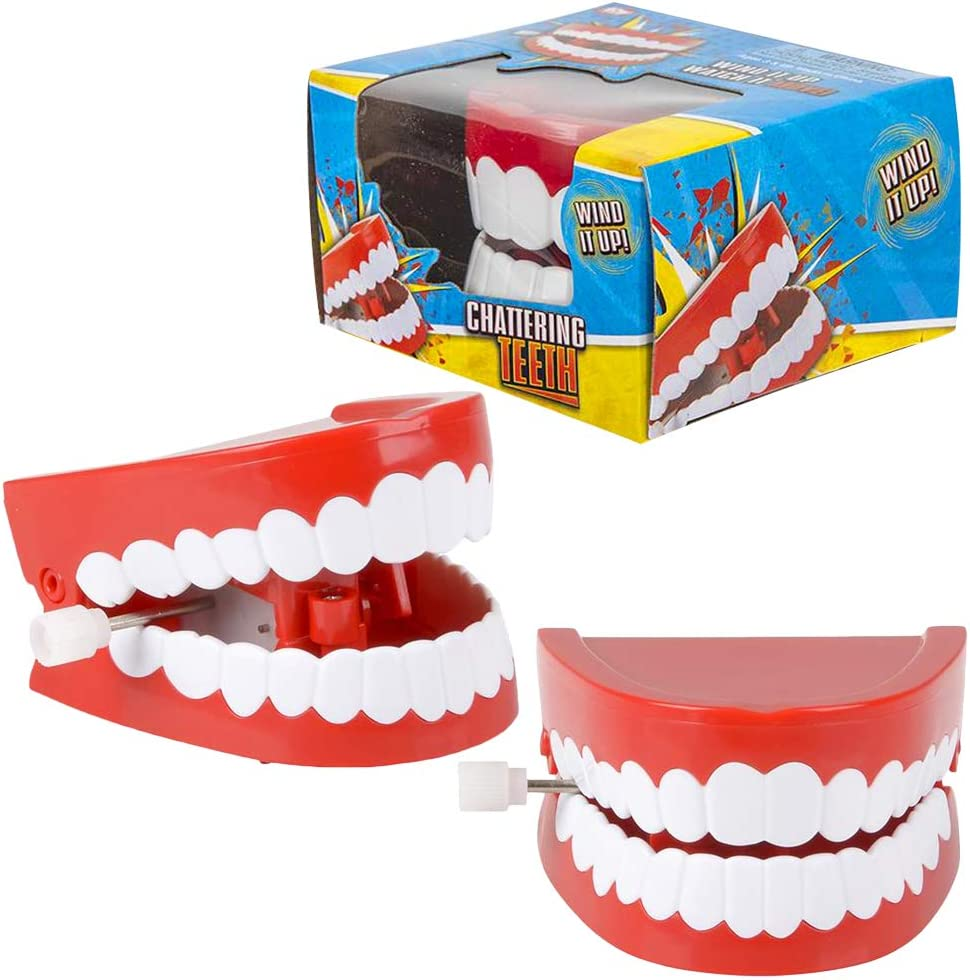 ArtCreativity Chattering Teeth Wind Up Toy, Set of 6, Windup Chomping Toy Mouth, Dental Tooth Party Decorations, Fun Birthday Party Favors for Kids, Dentist Office Toys, Joke Gag Gift