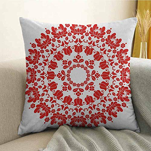 (FreeKite Silky Pillowcase Super Soft and Luxurious Pillowcase Hungarian Round Folk Art Pattern Tulips Traditional Kalocsai Old Fashioned W16 x L16 Inch Red and White)