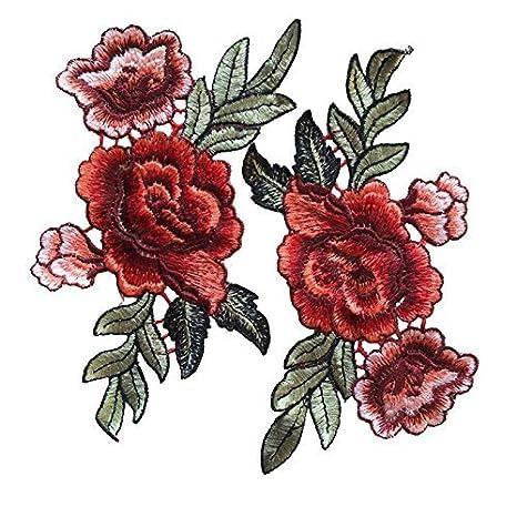 Romote Conjunto de 2 Flor Rosa Bordado crestas © s de à Coser Parches Collar Rosa y el Vestido Floral de Busto Camiseta de los Pantalones Vaqueros ...