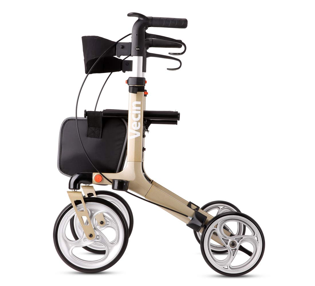 Vecin Folding Rollator Walker with Seat & Bag, Height Adjustable & Mobility Lightweight Rolling Adult Walker for Elderly & Senior by Vecin