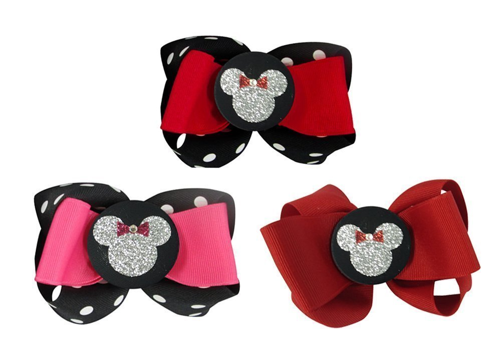 Minnie Mouse Glitter Custom Hair bow clips, Disney Princess Vacation