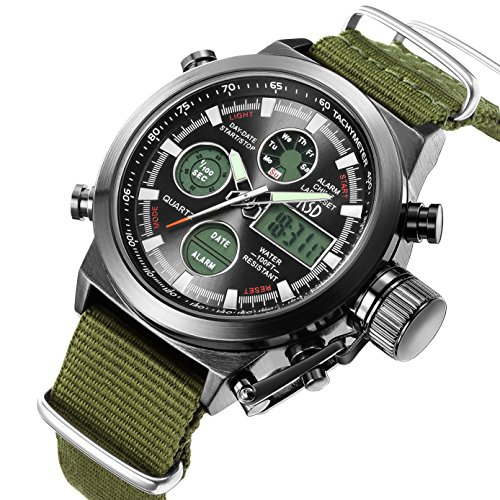 Watches Men Quartz Analog Digital Military Canvas Fabric Strap LED Sport Wrist Watch ()