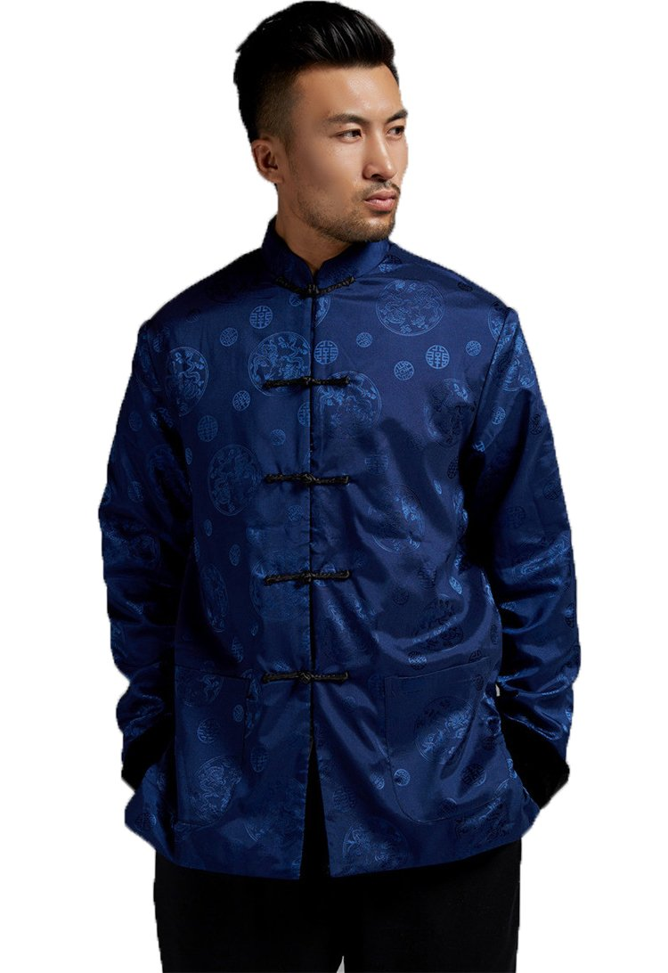 ezShe Men's Long Sleeve Fashion Reversible Jackets Chinese Tang Suit, BB M