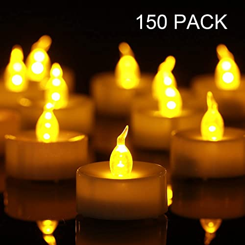 Tea Light Flameless LED Tea Lights Candles Flickering Warm Yellow 100 Hours Battery-Powered Tealight Candle. Ideal for Party, Wedding, Birthday, Gifts and Home Decoration 150