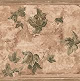 Green Leaves on Branches Floral Brown Wallpaper Border Retro Design, Roll 15' x 9''