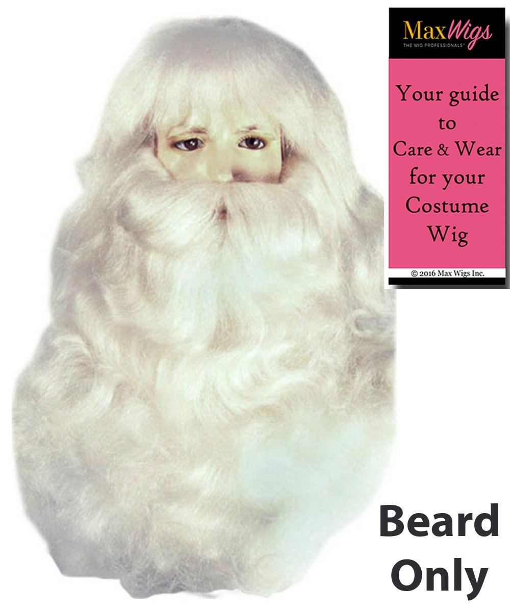 Santa 004YL Beard Only Fine Yak Hair Color White - Lacey Wigs Men's Claus Extra Full Synthetic Kris Kringle Christmas Bundle With MaxWigs Costume Wig Care Guide