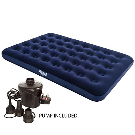 Inflatable Single//Double Flocked Airbed Mattress Camping Air Bed Inflate Pump