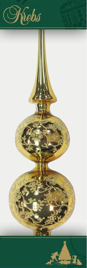 Christbaumdoppelspitze Gold gl/änzend mit Dekor 33 cm