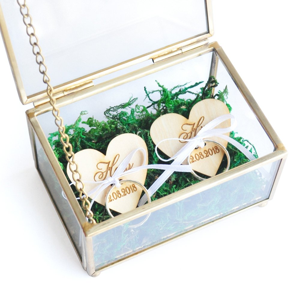 F&M HANDMADE Personalized Wedding Ring Box, Ring Bearer Box,Custom Copper Ring Box,Glass Ring Box