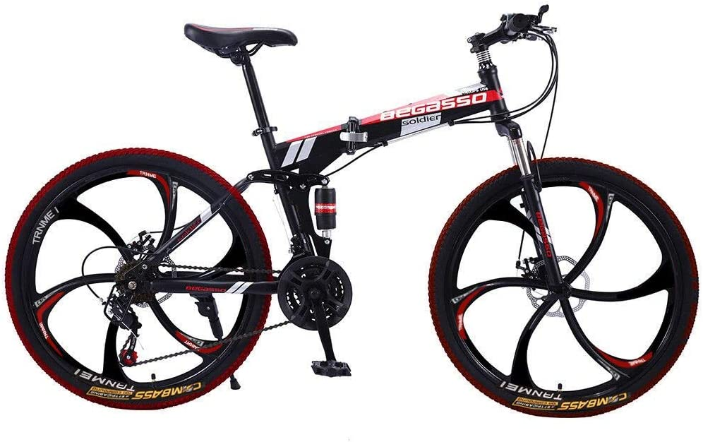 Carbon Steel Bike Speed Bicycle Full Suspension MTB Aluminum Bike Front Rear Disc Brakes Bicycle YSFWL 26 Inch Folding Bike Mountain MTB Variable Speed Bicycle for Adult Men and Women