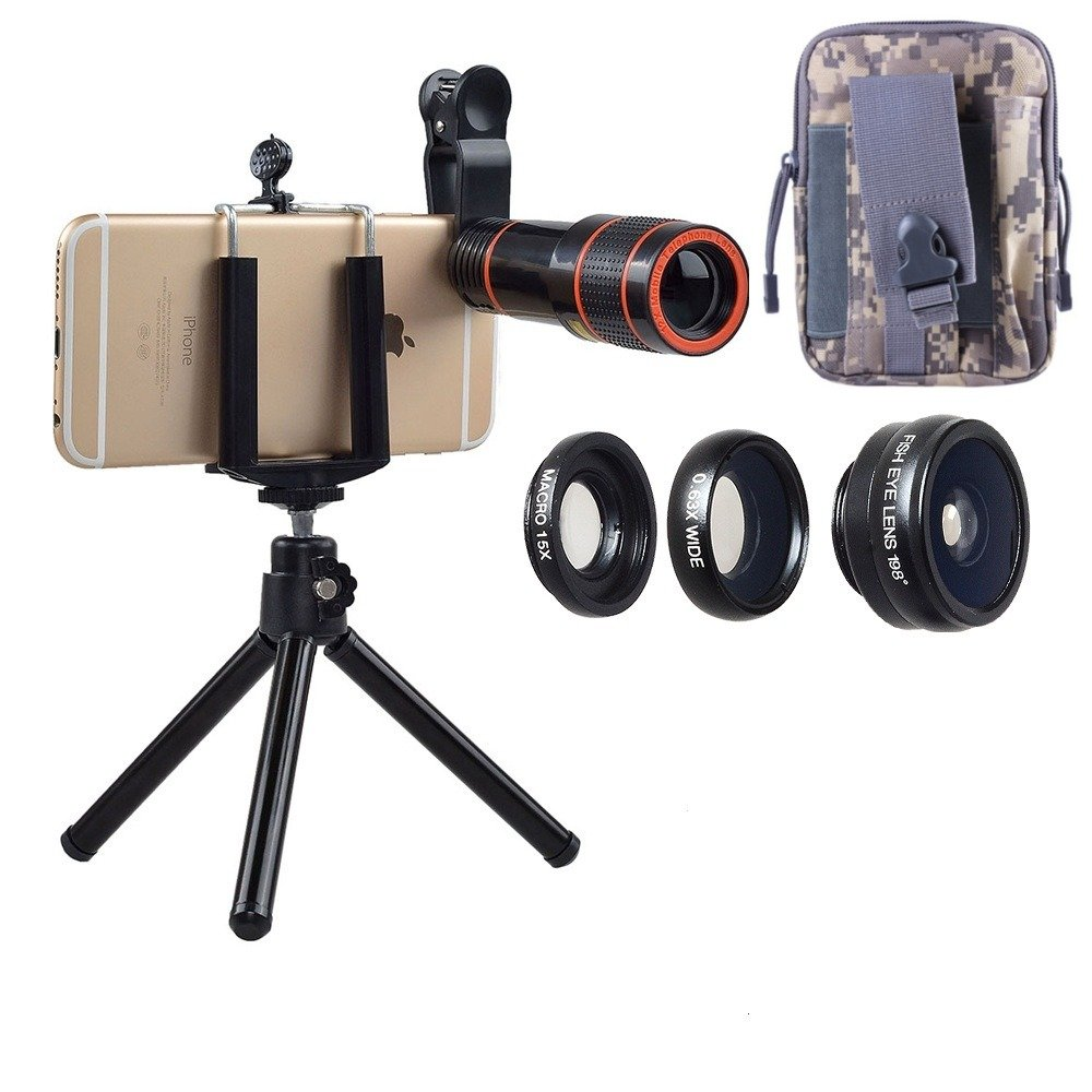Mobile Cell Phone Camera Lens Kit: Constant 12x Zoom+Fisheye Lens+Wide Angle Lens+Macro Lens for most Android Phones and iPhones. 4 in 1 Smartphone Cam Lens Kit+Bonus Pouch (Military Grey)