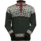 ICEWEAR Bjorn Wool Lined Sweater Norwegian Style Quarter Zip Light 100% Worsted Wool Long Sleeve Outdoor Sweater | Black - Medium