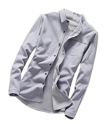 pujingge Men Solid Color Fashion Slim Fit Long Sleeve Button Down Shirt