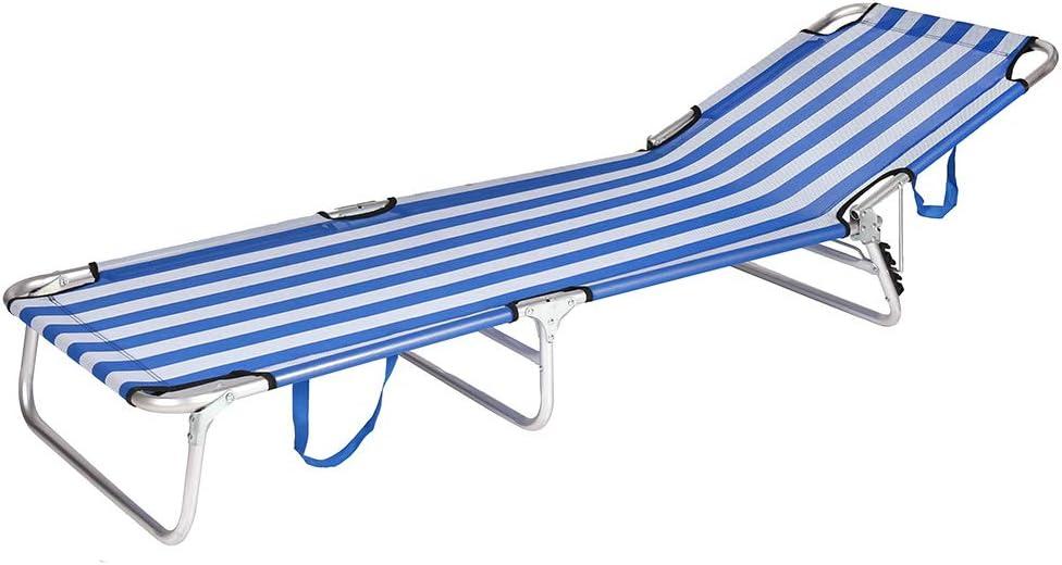 LOLAhome Tumbona Playa Cama de 3 pies de Aluminio y Textileno (Azul y Blanco)