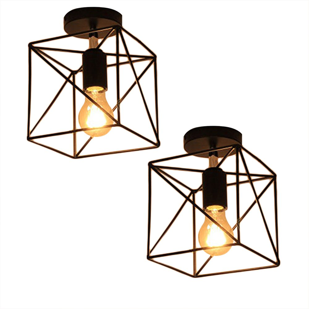 Square Cage Ceiling Light, Motent Industrial Vintage Wire Cage ...