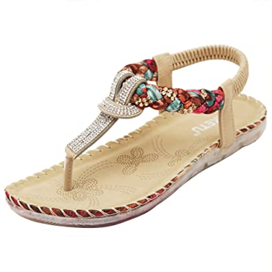 261652a6e1f253 Temofon Summer Women s Sandals Braided T-Strap Gladiator Bohemian Beaded  Flower Rhinestone Flat Beach Flip