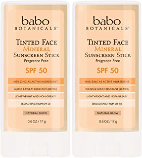 product image for Babo Botanicals Tinted Moisturizing Face Mineral Stick Sunscreen SPF 50 with 70+% Organic Ingredients, Water-Resistant, Fragrance-Free - 2-Pack 0.6 oz.