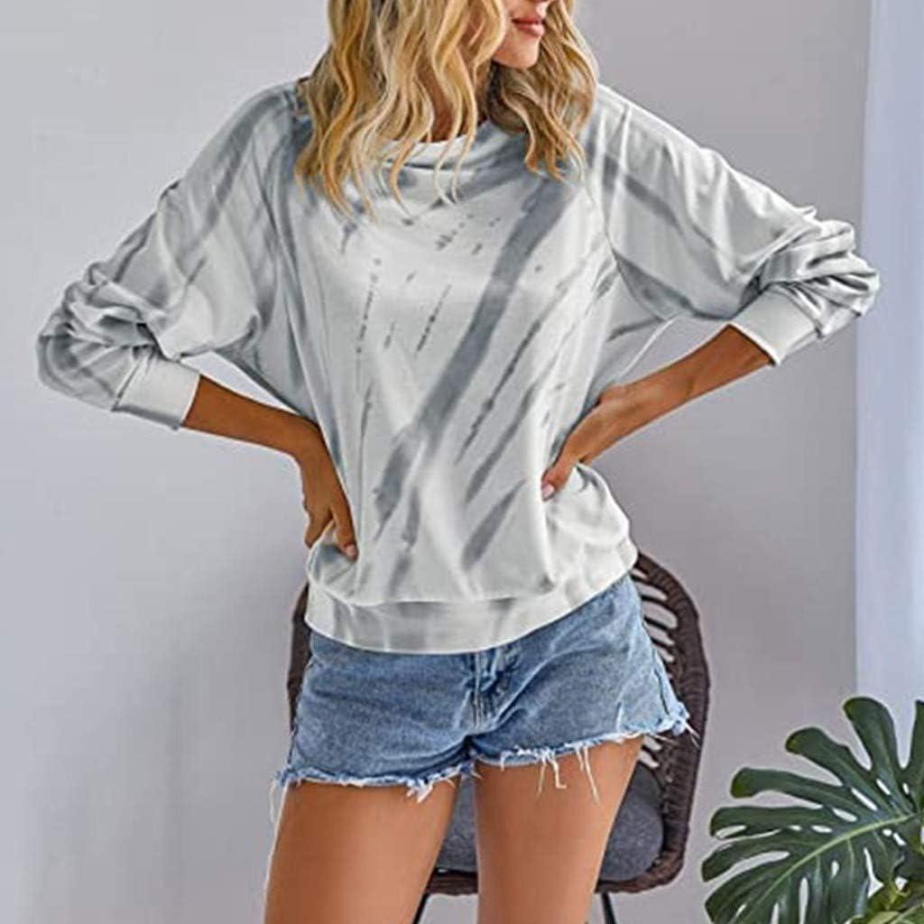Womens Tie Dye Long Sleeve Hoodies Sweatshirts Pullover Casual Loose Tops Blouse