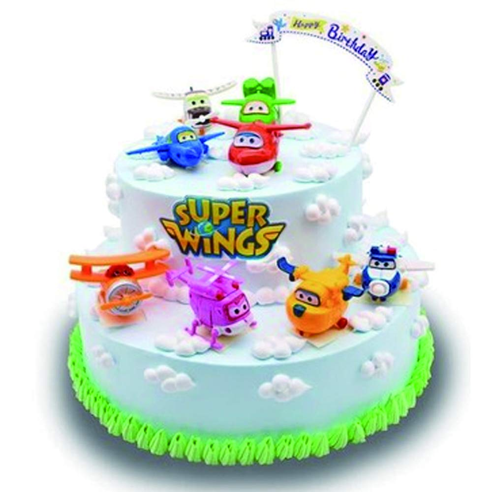 Super Wings PVC Doll Toy Cake Topper Kids Birthday Gift Toys Kid Party Cake Decoration by CHOCKACAKE