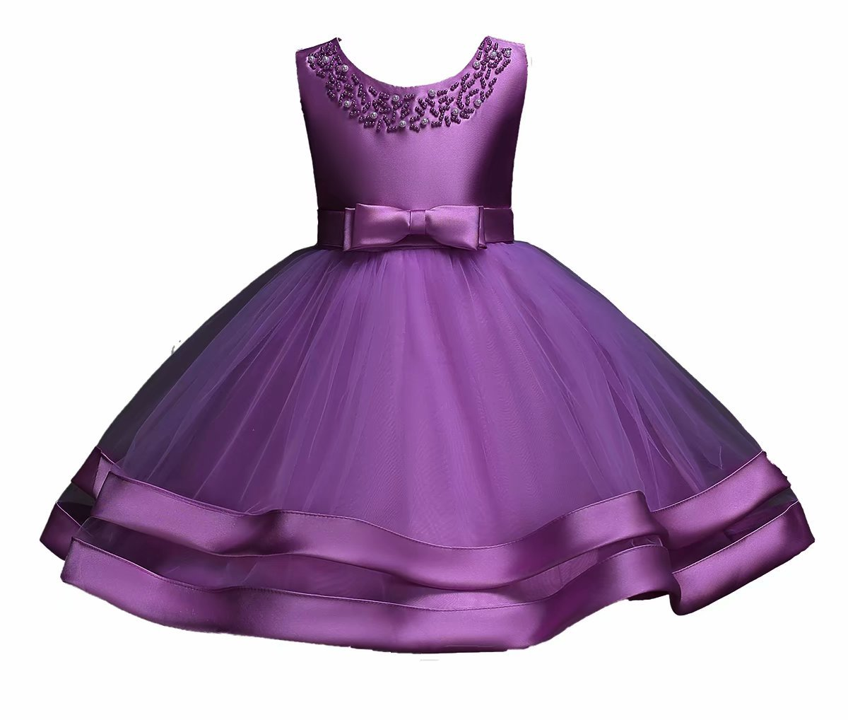 AYOMIS Girls Lace Bridesmaid Dress Wedding Pageant Dresses Tulle Party Gown Age 4-7Y(Deep Purple,3-6M)