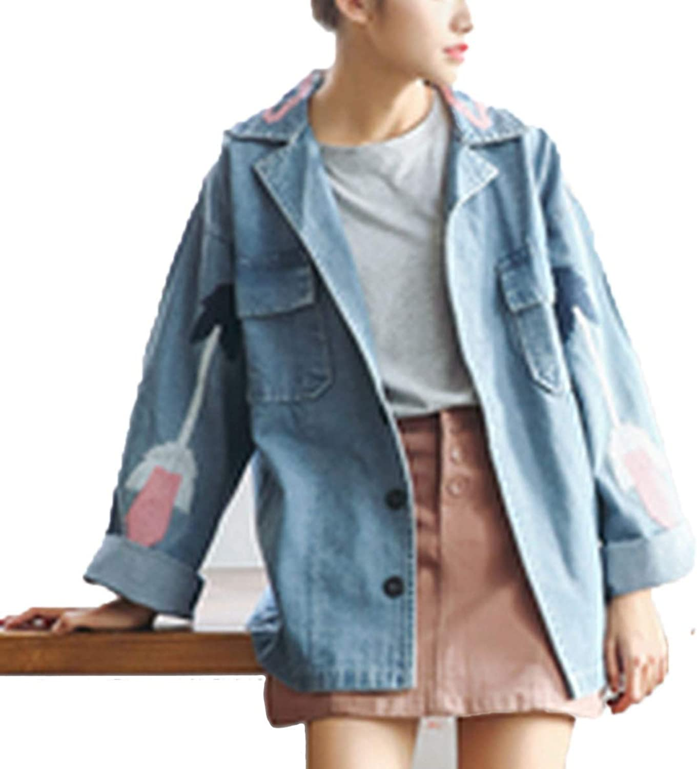 2019 Spring Autumn Denim Jacket Embroidery Women Jeans Jacket Harajuku Female Basic Coat Loose Casual Denim Coat WQ116,Blue,M
