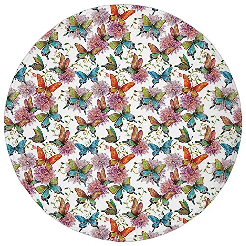 Round Rug Mat Carpet,Butterfly,Flying Butterflies with Floral Elements Vivid Color Palette Wildflowers Retro,Multicolor,Flannel Microfiber Non-slip Soft Absorbent,for Kitchen Floor (Flannel Retro Flowers)