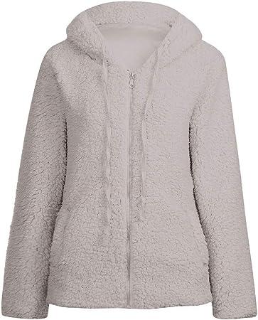 Abrigo Invierno Mujer Chaqueta Cálido Suéter Jersey Mujer Cardigan Mujer Tallas Grandes Outwear Floral Bolsillos con Capucha de Impresión Caliente Sudadera