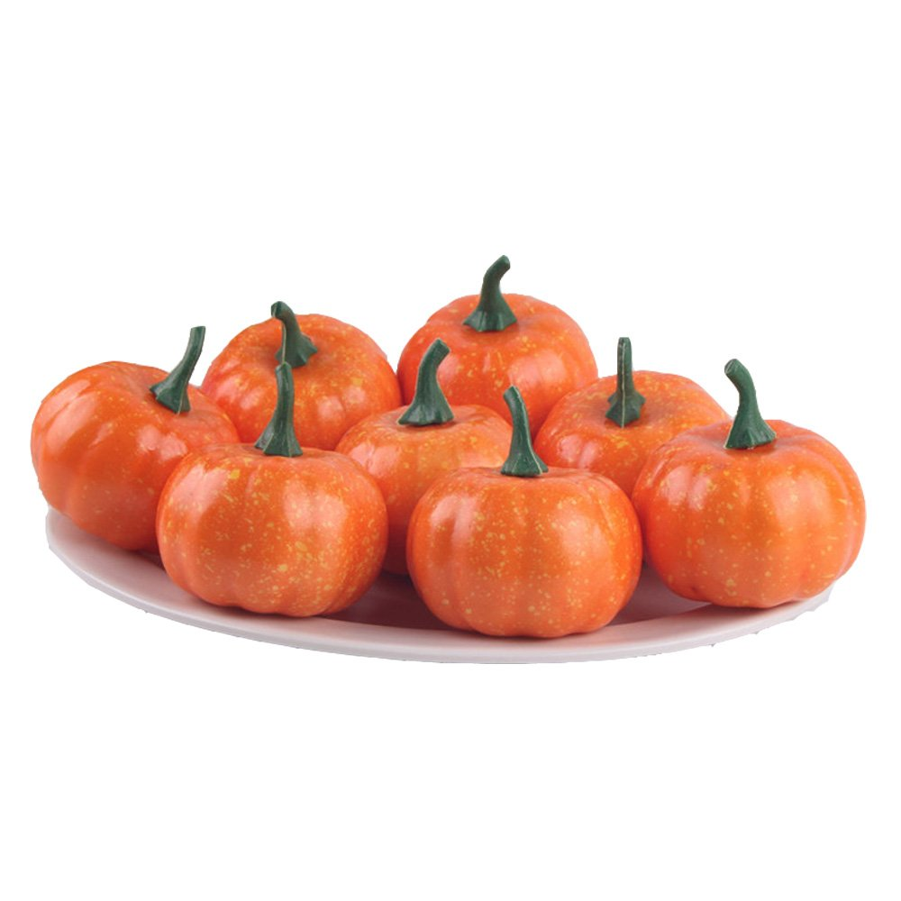 Pack of 16 Fake Fruit Home Kitchen Small Squash Fake Artificial Foam Mini Orange Pumpkin Halloween house Decoration (16, 2.2 Inch)