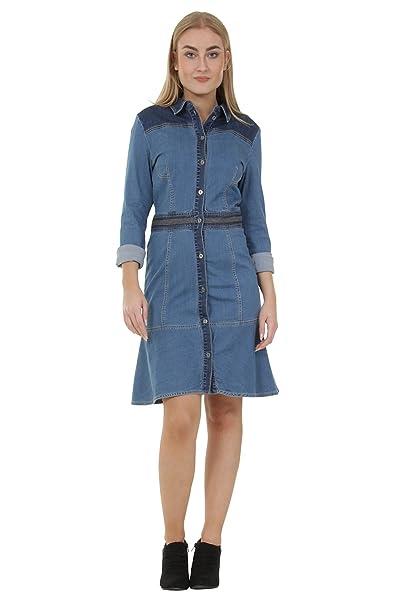 Toxik3 Langärmeliger Jeanskleid Mit Knöpfe Vorn Frauen Sommerkleid