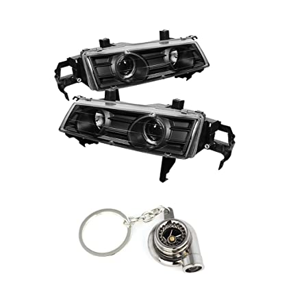 Amazon.com: Honda Prelude Projector Headlights LED Halo Black Housing With Clear Lens+ Free Gift Key Chain Spinning Turbo Bearing: Automotive