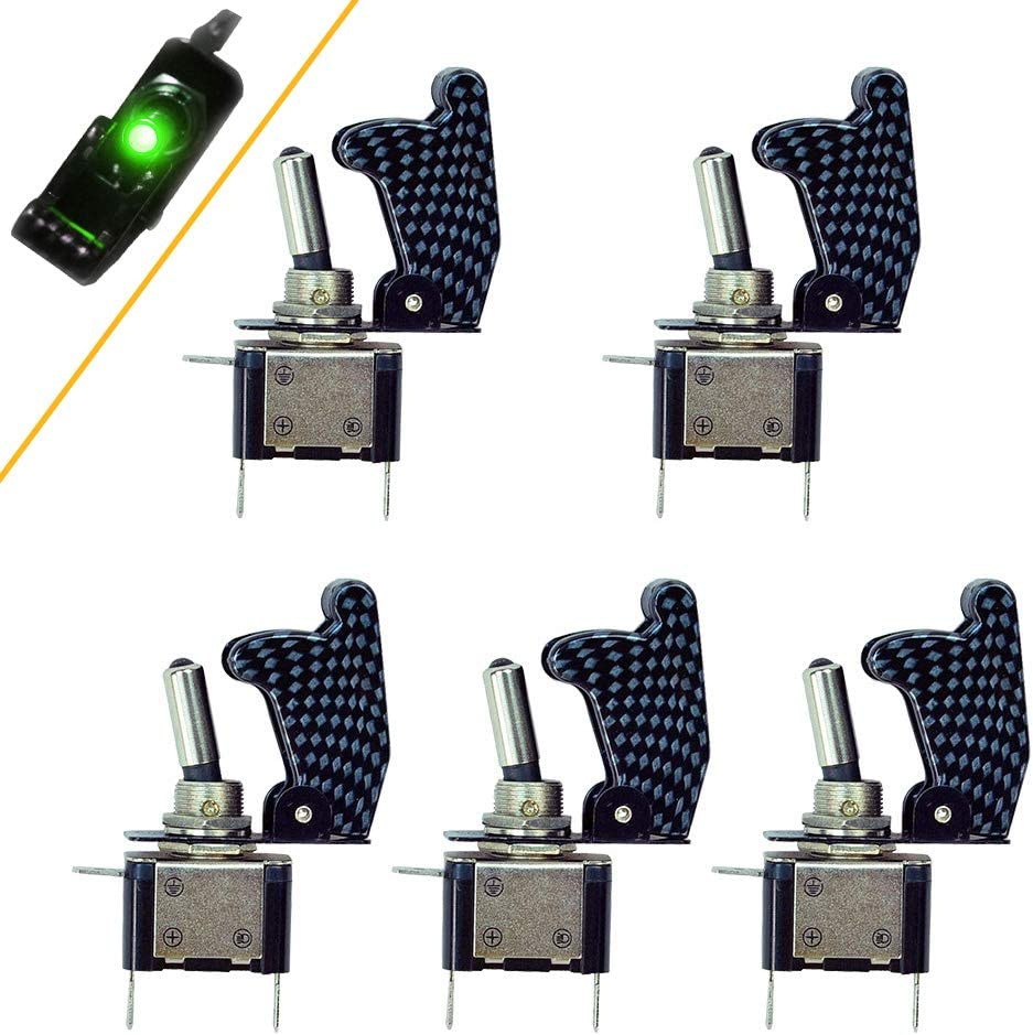 HOTSYSTEM Rocker Toggle Switch SPST ON//Off 12V//20A Carbon Fiber Cover LED Illuminated 3Pin for Car Truck Boat Motorcycle Pack of 1,Green