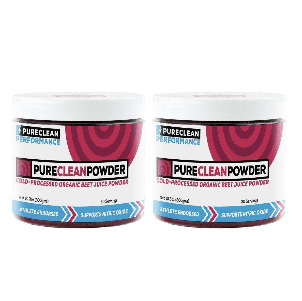 PureClean Powder - 100% USA Grown Organic Beet Juice Powder - No Fillers, Sweeteners, or Additives (PCP Jar 2pk)