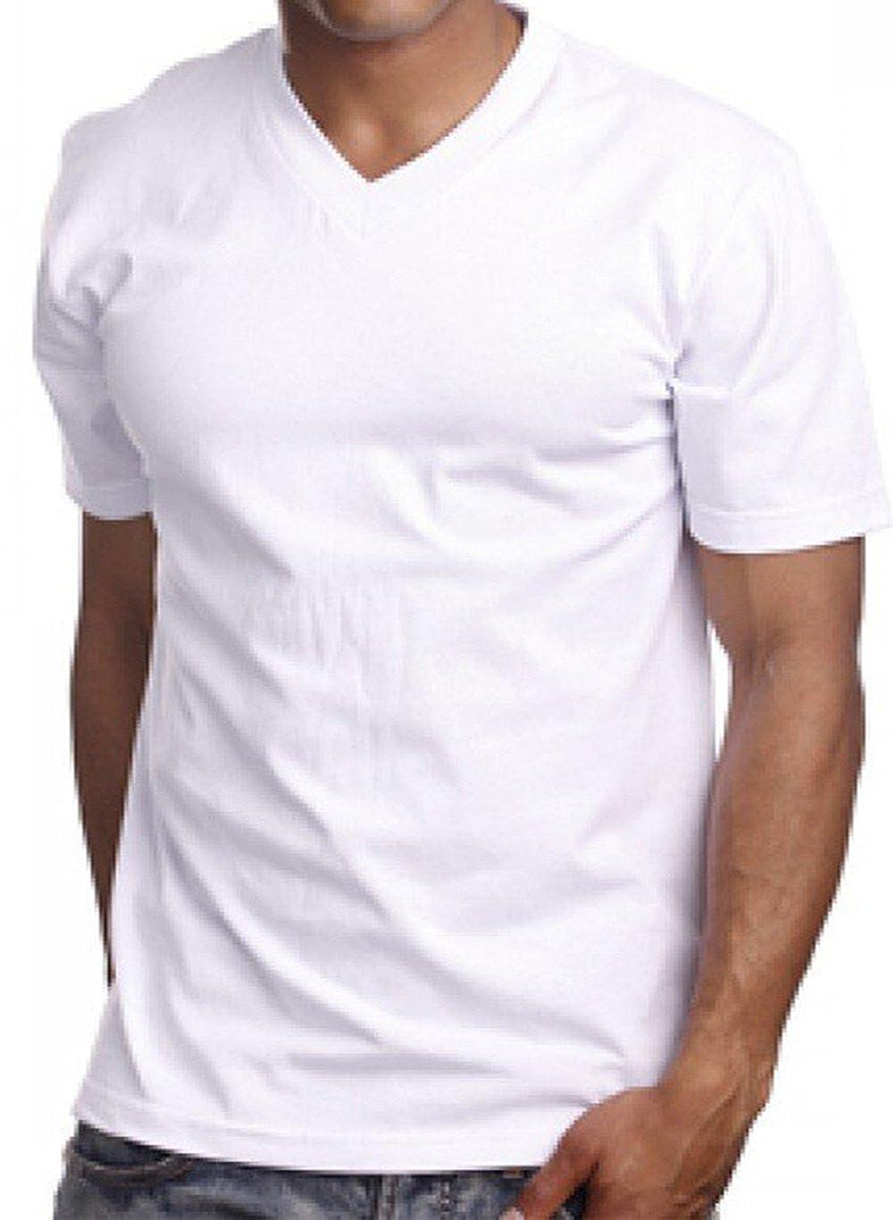 Giovanni White Mens 100/% Cotton V-Neck T-Shirt 1st Quality.