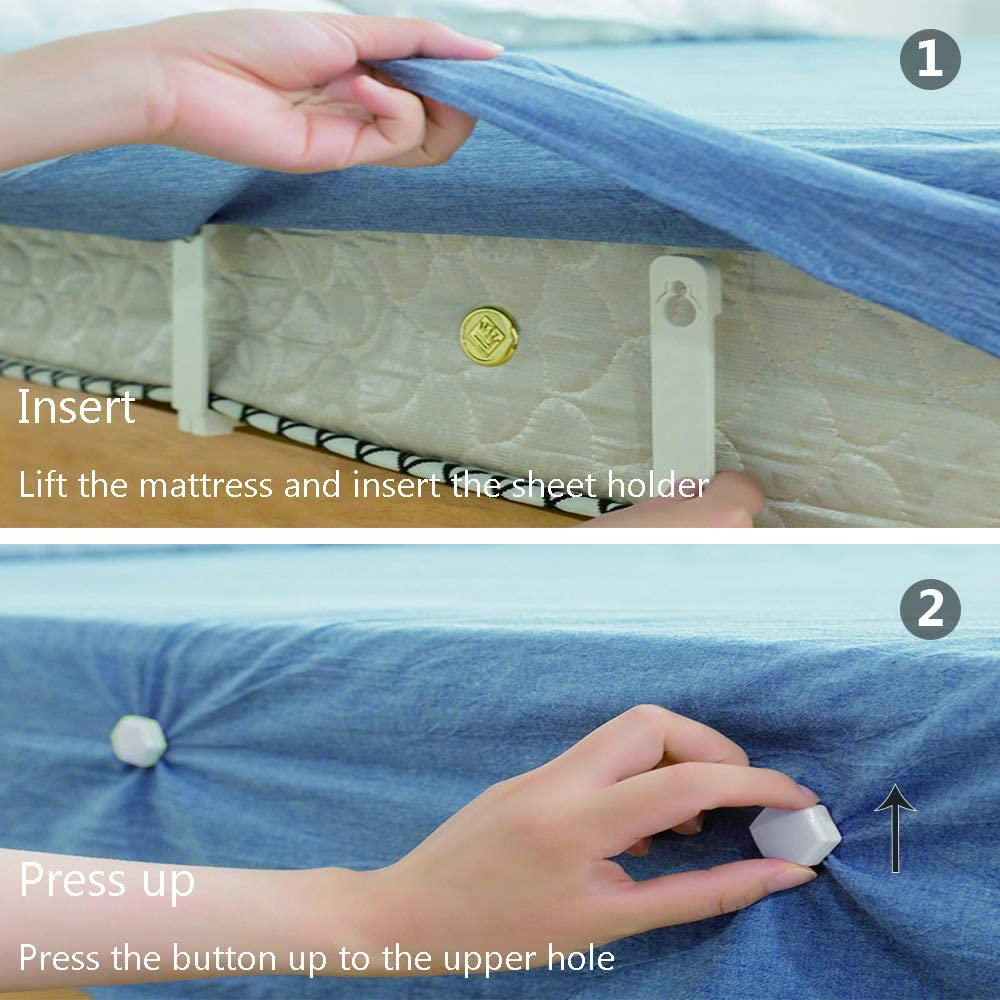 New Approach for Keeping Your Sheets On Your Mattress Toosunny 4 Pieces Sheet Holders No Elastic Straps or Clips Easy Install