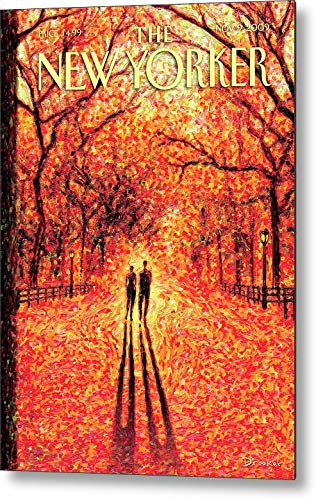 KPSheng Autumn in Central Park Retro Vintage Metal Tin Sign Wall Plaque - for Cafe Beer Club Wall Home Decor 12x16 Inches