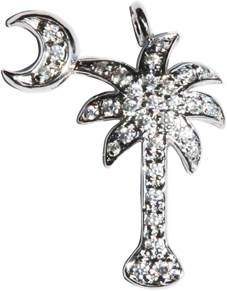 SC-jewelry St Silver Cubic Zirconia CZ Studded Palmetto Moon Palm Tree Pendant for Necklace//Chain Rhodium-Plated