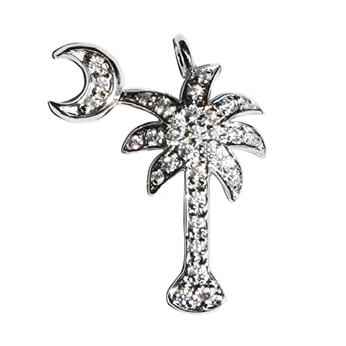 SC-jewelry St. Silver Cubic Zirconia CZ Studded Palmetto Moon Palm Tree Pendant For Necklace Chain Rhodium-plated