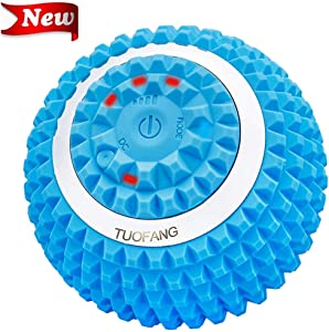 TuoFang Vibrating Massage Ball - 4-Speed High-Intensity Fitness Yoga Massage Roller, Relieving Muscle Tension Pain & Pressure Massaging Balls, Electric Rechargeable Washable Vibrating Massage Ball