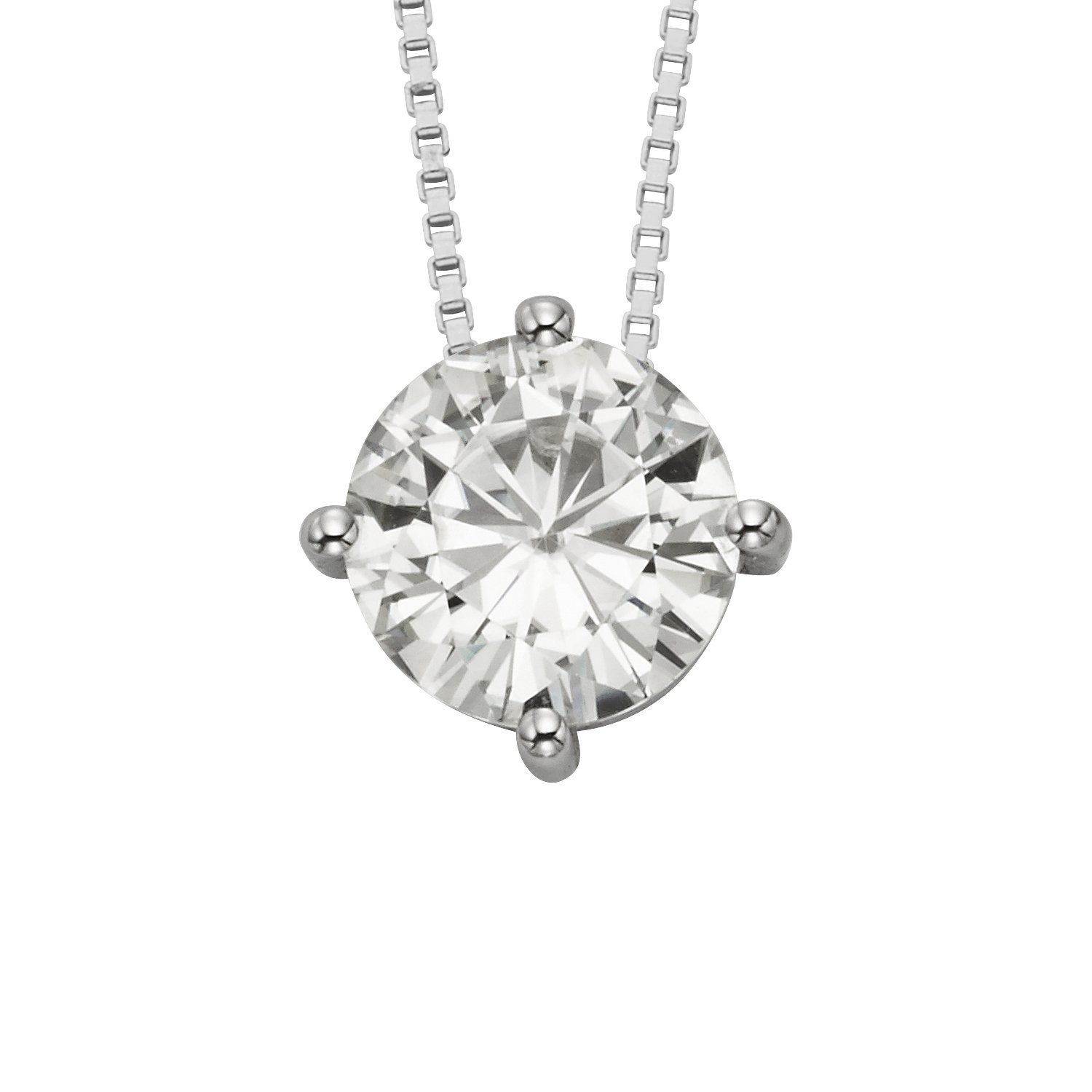 Round Brilliant Cut 8.0mm Moissanite Pendant Necklace, 1.90ct DEW By Charles & Colvard