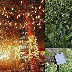 Solar String Lights with Ground Plug-Teepao 39ft 100 LED