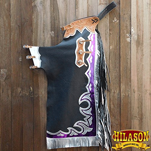 HILASON CH880T BLACK BULL RIDING GENUINE LEATHER RODEO WESTERN CHAPS - Bull Riding Chaps