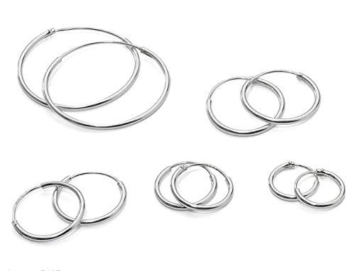 22cba77aa Image Unavailable. Image not available for. Color: 5 Pairs 925 Sterling  Silver Small Medium Large Endless Hoop Earrings Set ...