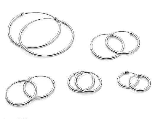 925 Sterling Silver 2 Pair Set of 8 10 mm Sleeper Round Endless Hoop Earrings Z9Rs9cGW5