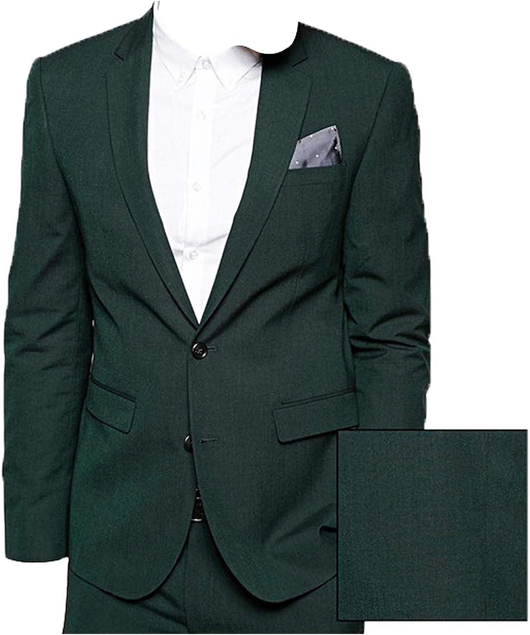 HBDesign Mens 2 Piece 2 Button Casual Fashion Dress Suits Dark Green