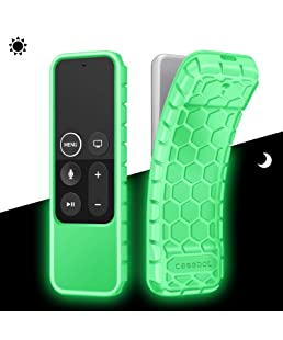 Fintie Protective Case for Apple TV 4K 5th, 4th Gen Remote - CaseBot (Honey Comb Series) Lightweight (Anti Slip) Shock Proof Silicone Cover for Apple TV Siri Remote Controller, Green Glow in The Dark