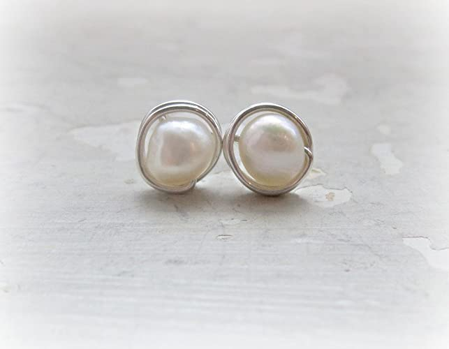 dc23770cb Image Unavailable. Image not available for. Color: Sterling Silver + White  Freshwater Pearl Stud Earrings