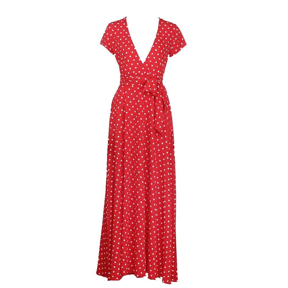 Keepfit Chiffon Polka Dot Dresses, Deep V Neck Casual Long Maxi Sundress (M, Red)