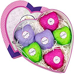 Bath Bombs Gift Set - Spa Kit of 6 Large Fizzies - Natural Essential Oils & Lush Fragrance - Rose, Lavender, Eucalyptus. Beauty Gift Idea for Woman, Daughter,Teen Girl, Mom - Her Organic Bath Basket